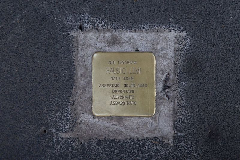 Deported Milano Stumbling Block Stolpersteine - Stumbling Blocks Stolpersteine Stumbling Stone Sidewalk Pavement Street Deported Pietra D'inciampo Metal Stone Text Communication No People Western Script Close-up Textured  Sign