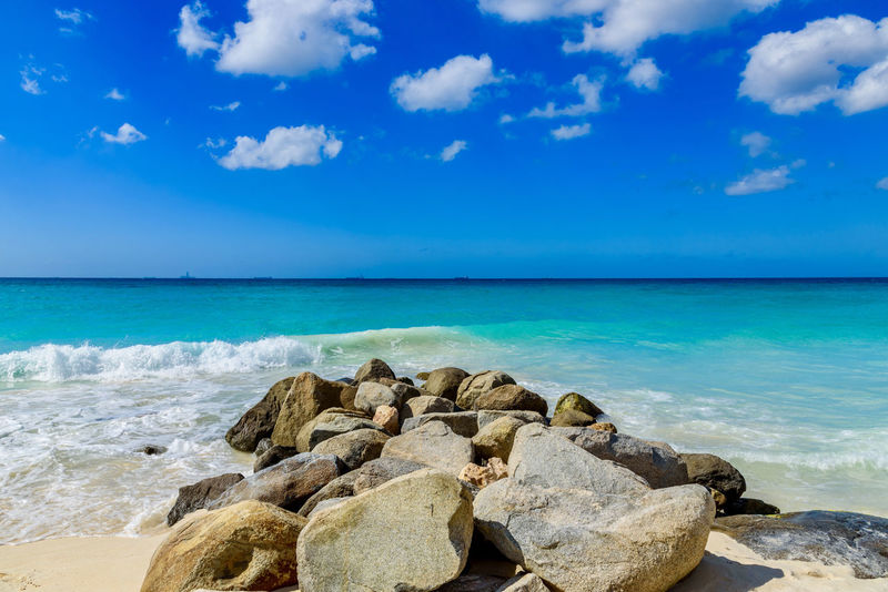 Calm Dreamy Landscape Eagle Beach, Aruba Exotic Stunning Blue Caribbean Day Dutch Horizon Over Water Idyllic Leisure Nature Outdoors Relax Relaxation Resort Rocks Scenic View Sea Summer Tranquility Tropical Tuquoise Water