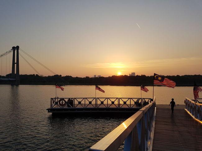 Sunset view at Putrajaya lake. Sunset Lake Lake View Dusk Jetty Platform Landscape Recreation