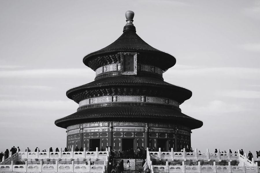 Architecture History Built Structure Ancient Travel Destinations Building Exterior Old Ruin Outdoors Ancient Civilization Sky Day City People King - Royal Person Tourism Travel Ancient Light And Shadow FUJIFILM X-T10 Beijing, China Temple Of Heaven Park Black And White Old Buildings Crowd Architecture