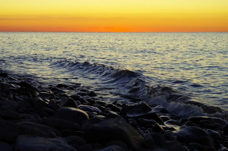 Nature On Your Doorstep Beautiful Orange Sky Sunset Waves Crashing on the Rocks at the Beach in Youngstown, Ny Beach Photography