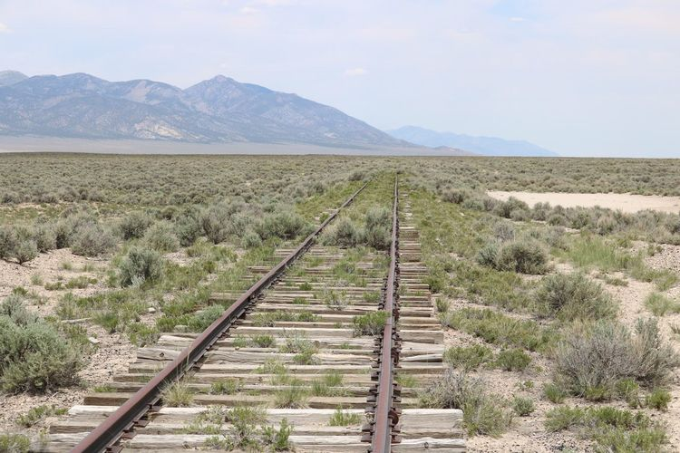 Railroad tracks on landscape against sky