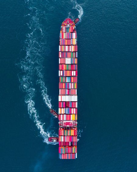 Directly above shot of cargo container in sea