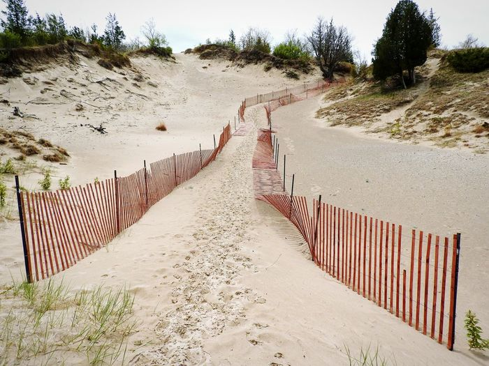 Between The Lines ~ Pathway Guidance Handmade Forest Path Uphills Dunescape Sand Dune Beauty In Nature Hikingadventures Pinery Provincial Park Canada Coast To Coast Provincial Park Red Fence Beachphotography Beach Sand Shadow Tree Sky Fence Picket Fence Security Boundary