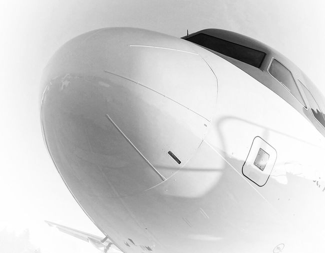 """""""Take Off """" Air Vehicle Airplane AntiM Blue Clear Sky Communication Contemporary Copy Space Cropped Flying Ideas Journey Mid-air Mode Of Transport No People On The Move Part Of Sign Showcase: January Blackandwhite technology Transportation Aer Lingus"""