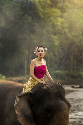 Woman looking away while sitting on elephant