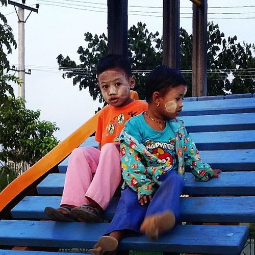 Myanmar Kids wearing Thanatkha Playing in playground happy evening yangon myanmar igersworldwide igersmyanmar