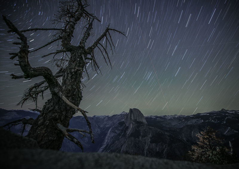 Climbed to Glacier Point to see the stars. You can feel the earth rotating here at 7200ft above the ground Glacier Point Glacier Point Yosemite Half Dome Yosemite Yosemite National Park Astronomy Beauty In Nature Landscape Long Exposure Mountain Nature Night No People Outdoors Scenics Sky Star - Space Star Trail Tranquil Scene Tranquility Tree