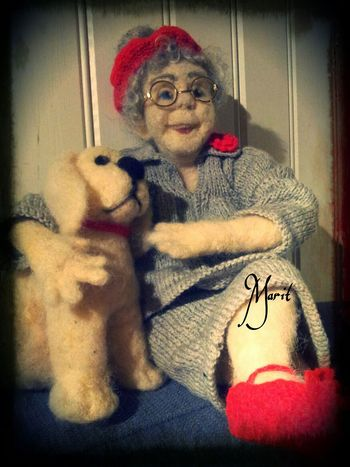 This is Dagmar with her best friend. ..made in pure wool Handmade By Me Artdolls Hanging Out Portrait