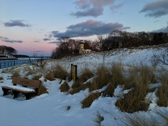 Cold Temperature Winter Snow Weather Sky Nature Beauty In Nature Frozen Tranquility Outdoors Tranquil Scene Scenics Cloud - Sky Field No People Day Bare Tree Tree Cold Architecture Lighthhouse Channel Pink Sky Michigan