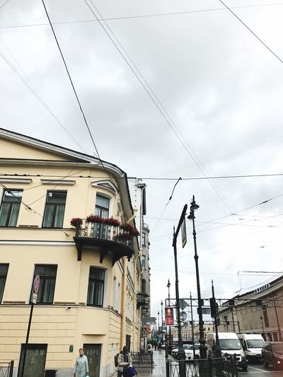 Cable Building Exterior Architecture Built Structure Sky Low Angle View Day Transportation Outdoors Cloud - Sky No People City Nature Saint Petersburg Flower Flowers City City Life
