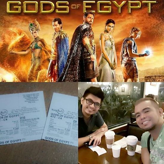 """Just watched """"Gods of Egypt"""" with @ed.gamboa... I read a few not so good review from the critics about it but I really love the film. I think it's one of the greatest movies I've watched this year. There was never a dull moment. It's action filled with a twist of romance and fantasy. I give it a two thumbs up. Right @ed.gamboa? A must watch film... 👍Godsofegypt Twothumbsup MovieDate MovieLovers ❤😊"""
