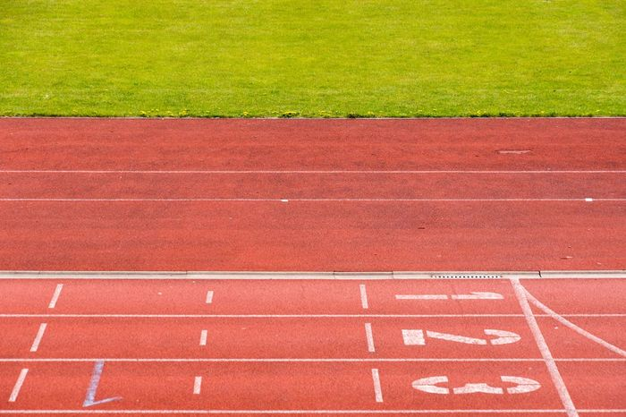 Competition Competitive Sport Day Dividing Line Finish Line  Grass No People Number Outdoors Red Running Track Sport Sports Race Sports Track Sprinting Stadium Starting Line Track And Field Track And Field Athlete Track And Field Event Track And Field Stadium Track Event