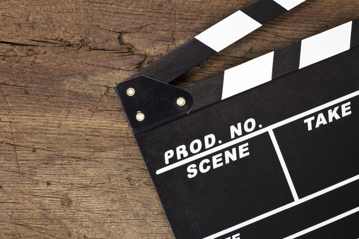 Clapperboard on wooden background Clapperboard Director Film Film Production MOVIE Movie Production Movie Props Slate Text Space Video Video Production