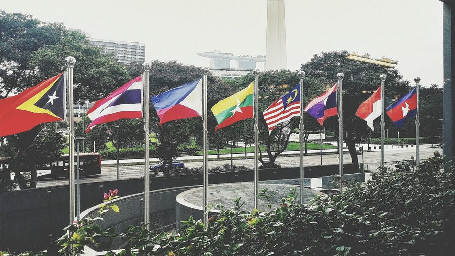 Flags of some of the 11 Countries participating in the 28th SEA Games held in Singapore