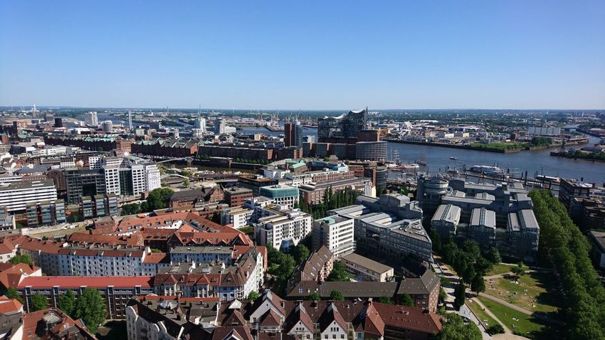 Elbphilharmonie from afar. Hamburg Germany Hh Michel Great View Cityscape Urban Landscape Skyline Hansestadt Hansestadt Hamburg Elbe Elbe River Elbphilharmonie Elphi Blue Sky Architecture Urban Beauty City Cityscape City Water High Angle View Sky Architecture