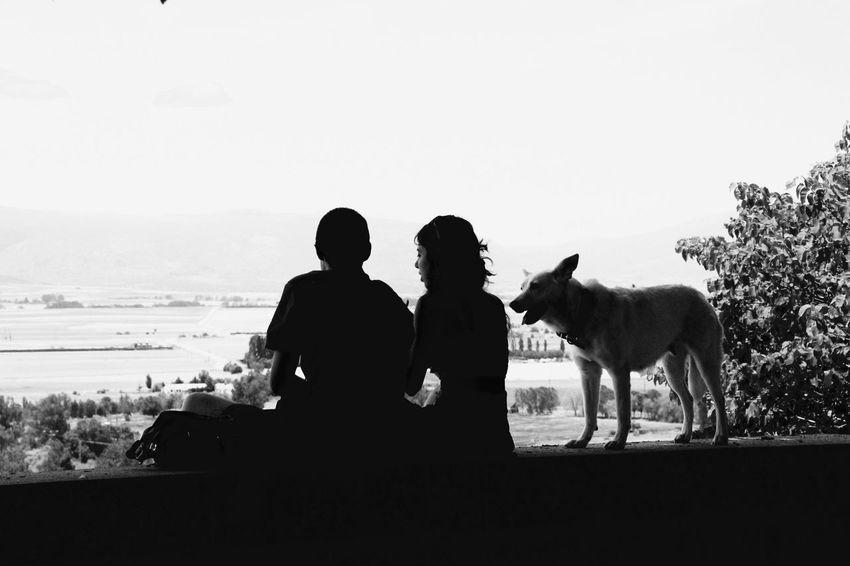 Boy And Girl Dog Blackandwhite