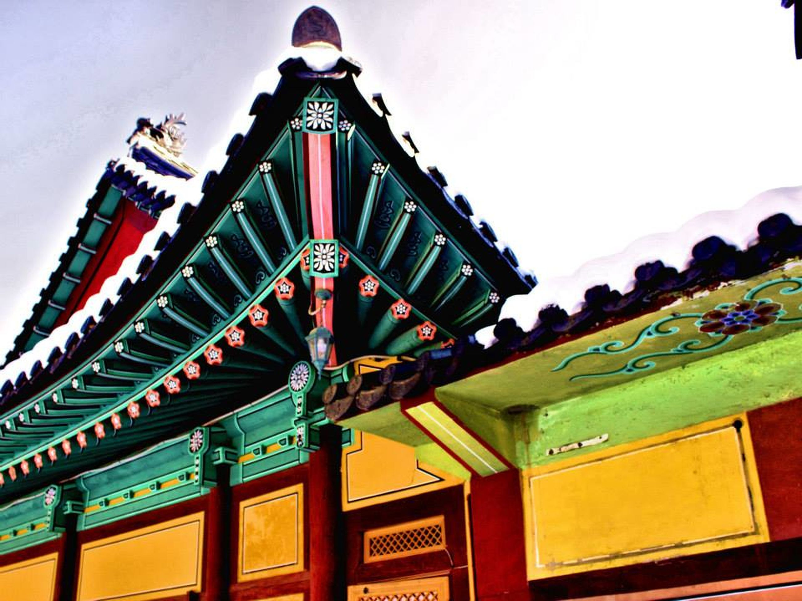 architecture, low angle view, built structure, building exterior, roof, multi colored, clear sky, sky, tradition, building, temple - building, day, no people, balcony, place of worship, outdoors, house, culture, religion, spirituality