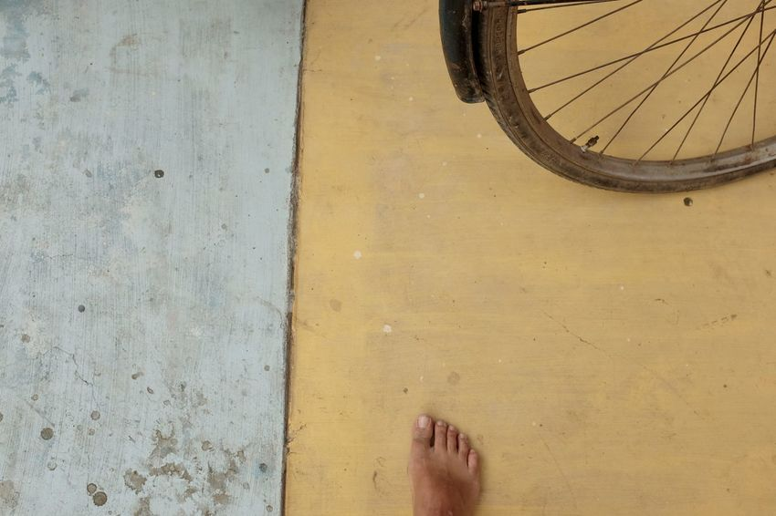 Yellow/foot Foot Abstract Bike Blue Bycycle Human Foot Outdoors Split Pic Yellow