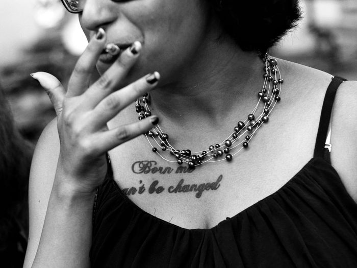attitude.. EyeEm Best Shots EyeEm Gallery EyeEm Selects Smokinggirl Portrait Girl Instagram Blackandwhite Woman Smoking Tattoo Necklace Jewelry Adult Fashion Only Women People Human Body Part Lifestyles Close-up