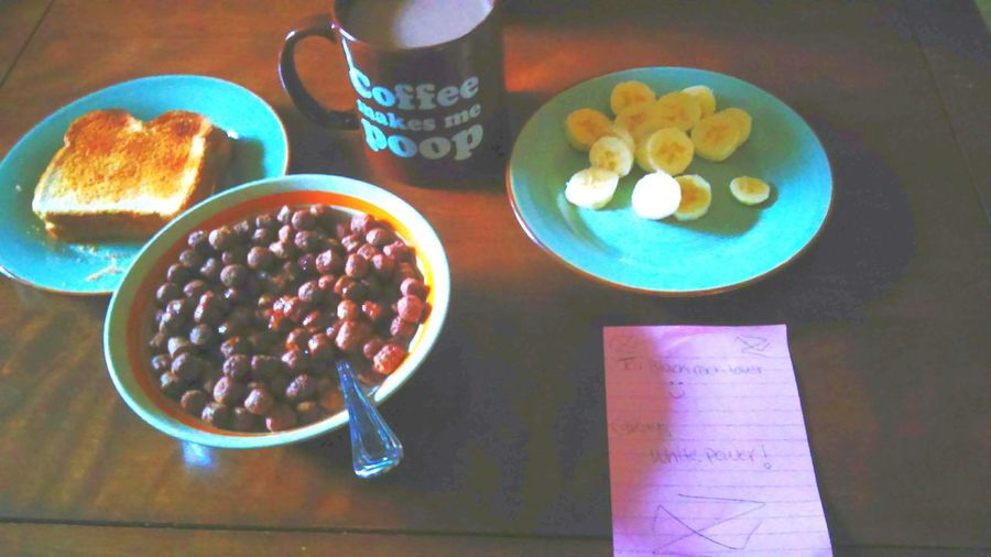 Food And Drink Indoors  Table Food Bowl Freshness Healthy Eating Ready-to-eat No People Sweet Food Directly Above Plate Drink Day Coffee CocoaPuffs Sliced Bananas Toast Coffee Makes Me Poop Breakfast Throwback