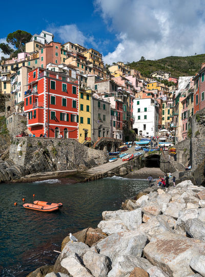 Cinque Terre Cinque Terre Architecture Building Building Exterior Built Structure Cloud - Sky Italy Landmark Mode Of Transportation Nature Nautical Vessel Outdoors Qinqueter Residential District Riomaggiore Rock Rock - Object Sea Sky Transportation Water
