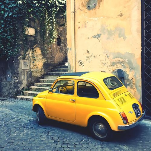 Vintage Cars Rome Yellow Yellow Car Car 500 Fiat Transportation Taxi Built Structure Architecture Land Vehicle Mode Of Transport Building Exterior No People Yellow Taxi City Outdoors Day Fiat500 Roma Italy Street