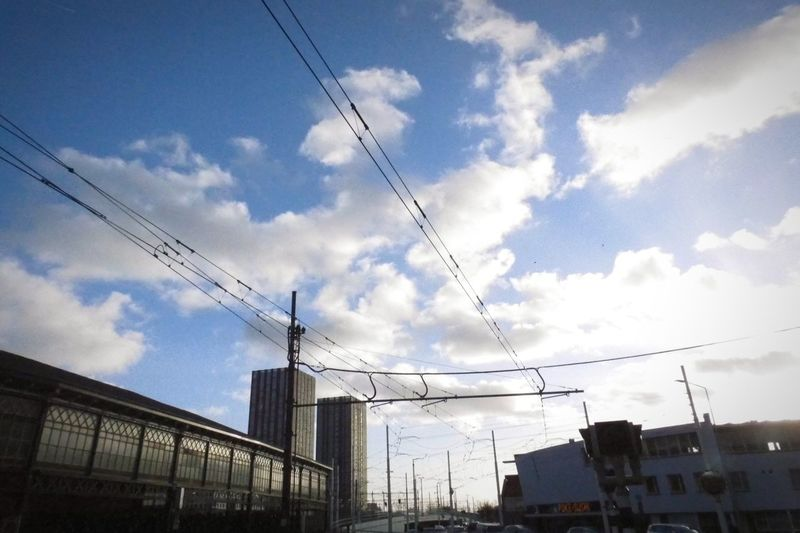 Tramway Travel Tram Telephone Line Technology Cable Bird Vapor Trail Sky Cloud - Sky Power Line  Electricity Pylon Power Cable Office Building