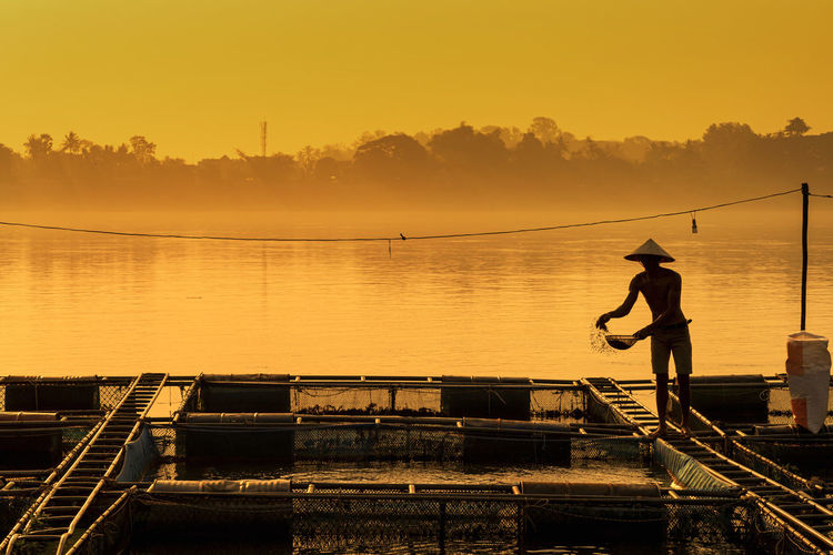 Silhouette man fishing in lake against sky during sunset
