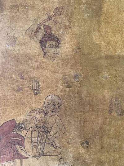 Aerial view of old painting on wall