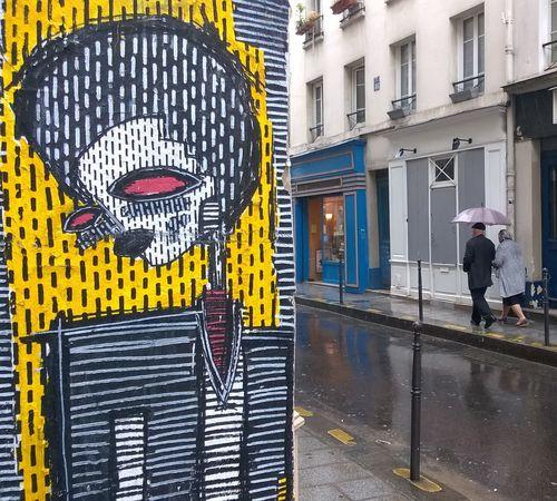 Daily Life Le Marais Old Couple Paris Rain Umbrella Umbrellas