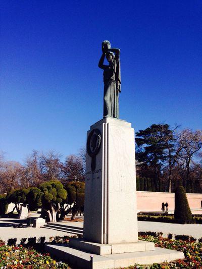 Madrid Madrid Spain ElRetiro Parqueelretiro Blue Human Representation Clear Sky No People Statue Sculpture Outdoors Sky Day