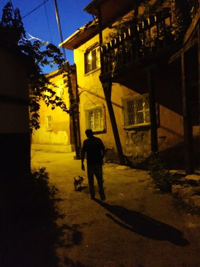 Light Building Exterior Architecture City Real People Built Structure One Person Shadow Walking Street Nature Night Illuminated Men Building