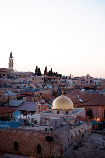 Architecture Building Building Exterior Built Structure City Clear Sky Copy Space Crowd Day Dome High Angle View History Israel Jerusalem Nature Outdoors Religion Residential District Roof Sky The Past Travel Destinations