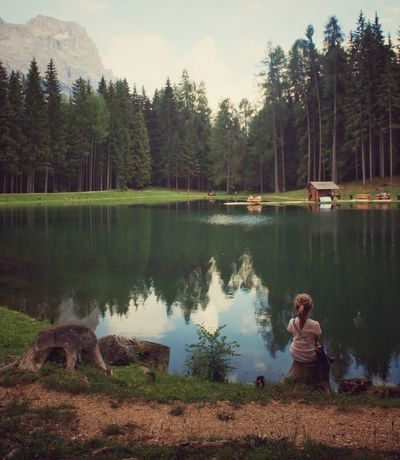 Only Women One Person Lake Tree Mid Adult Reflection Nature Tranquility Forest Leisure Activity Water Day Vacations Peace Dolomites, Italy Cortina Kid Rear