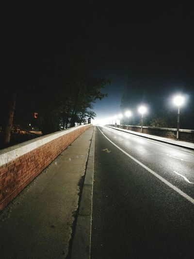 Night The Way Forward Road Illuminated Outdoors No People Transportation Tree Sky Nature