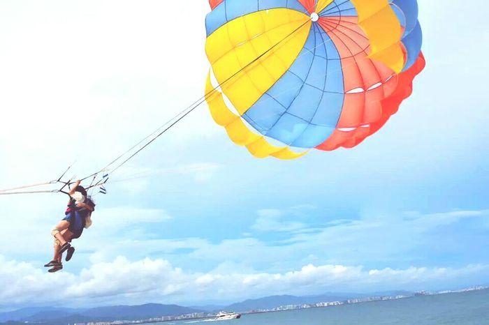 Happy Sea And Sky Fire Balloon Sanya.China Happy day~summer day~sunshine girl~