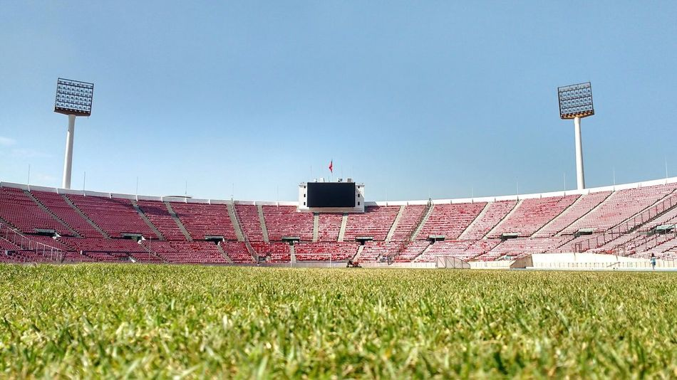 On the field Grass Sport No People Stadium Sky Clear Sky Day Soccer Outdoors Soccer Field <3  Sky And Clouds