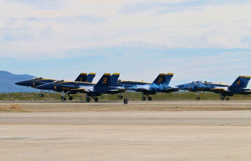 Blue Angles at China Lake Naval Air Station in California Blue Angels Aerospace Industry Air Vehicle Airfield Airplane Airport Runway Airshow Blue Angels Air Show Day Fighter Plane Formation Take Off Military Military Airplane Navy No People Outdoors Plane Take Off Sky Transportation