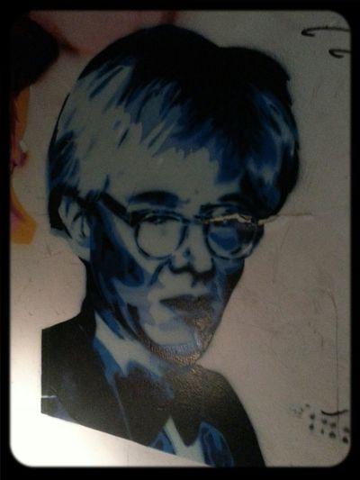 Ha Ha Stencil of Andy Warhol . Streetart