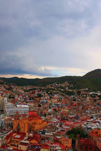 VSCO View Travel EyeEmNewHere Viewpoint Guanajuato Mexico Sky Architecture Building Exterior City Built Structure Building Sunset Town TOWNSCAPE High Angle View Cityscape