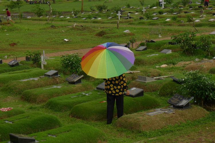 Multi colored umbrella on field
