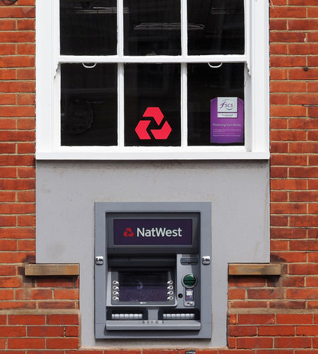 Architecture Atm Machines Brick Wall Building Exterior Built Structure Close-up Communication Day Natwest No People Outdoors Red Text Uk Banks Window
