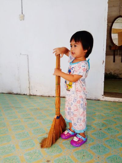 'I want to help you, mom' Kid Babygirl EyeEm Selects Child Full Length Childhood Portrait Standing Sweeping Holding Cleaning Broom Cleaner Babyhood Housework Posing Baby Clothing Cleaning Equipment