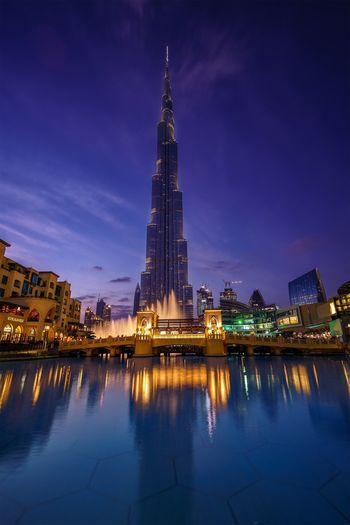 Dubai Burj Khalifa Downtown Dubai Architecture Cityscape Nightscape Reflection Water EyeEmNewHere EyeEmNewHere