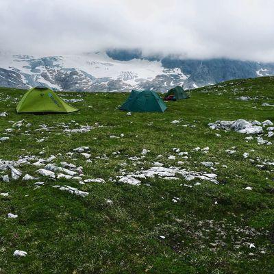 Camping below the Dachstein glacier Wildcamping Dachstein Hiking Glacier Mountains Alps