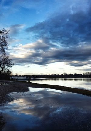 Reflection Water Cloud - Sky Sky Lake Nature Landscape Tranquility Beauty In Nature Space And Astronomy Outdoors Scenics Tree Sunset No People Day Astronomy Check This Out Hello World Taking Photos First Eyeem Photo Hanging Out Lake View Mantova Blue Sky