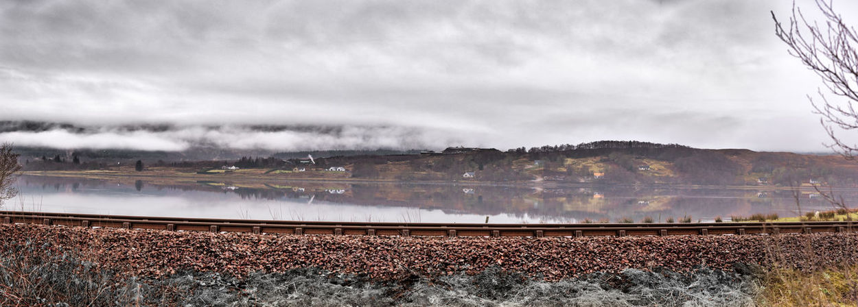 Merge Photography Houses Loch  Scotland 💕 Beauty In Nature Day Low Cloud On Mountains Man Made Structures Motion Nature No People Outdoors Railway Track View Scenics Sky Tranquility Water