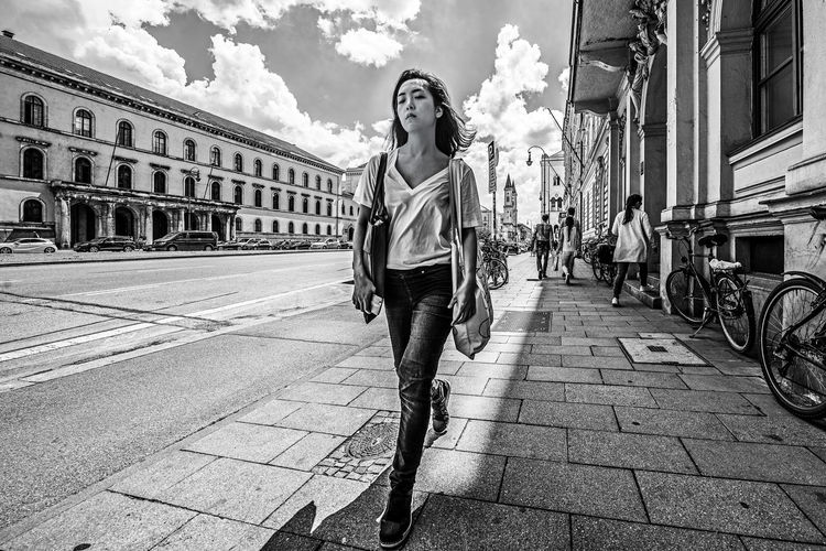 """""""Thoughts Beyond Infinity"""" Architecture Beautiful Woman Beauty Building Exterior Built Structure Casual Clothing City Day Front View Full Length Hairstyle Leisure Activity Lifestyles Looking At Camera One Person Outdoors Portrait Real People Young Adult Young Women The Modern Professional The Art Of Street Photography My Best Photo"""