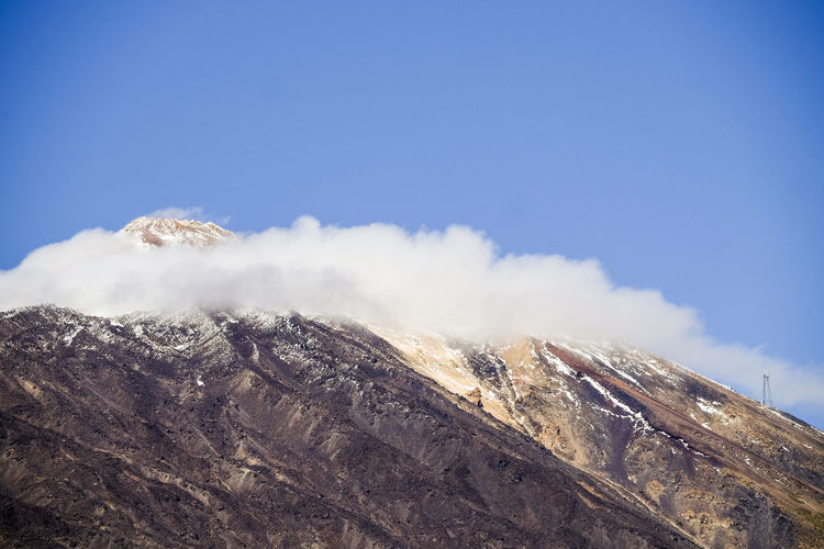 Outdoors mount el Teide vulcan in Tenerife with snow El Teide National Parc Beauty In Nature Blue Cloud - Sky Cold Temperature Day Environment Formation Geology Landscape Mountain Mountain Peak Mountain Range Nature No People Non-urban Scene Outdoors Physical Geography Scenics - Nature Sky Snow Snowcapped Mountain Tenerife Island Tranquil Scene Tranquility